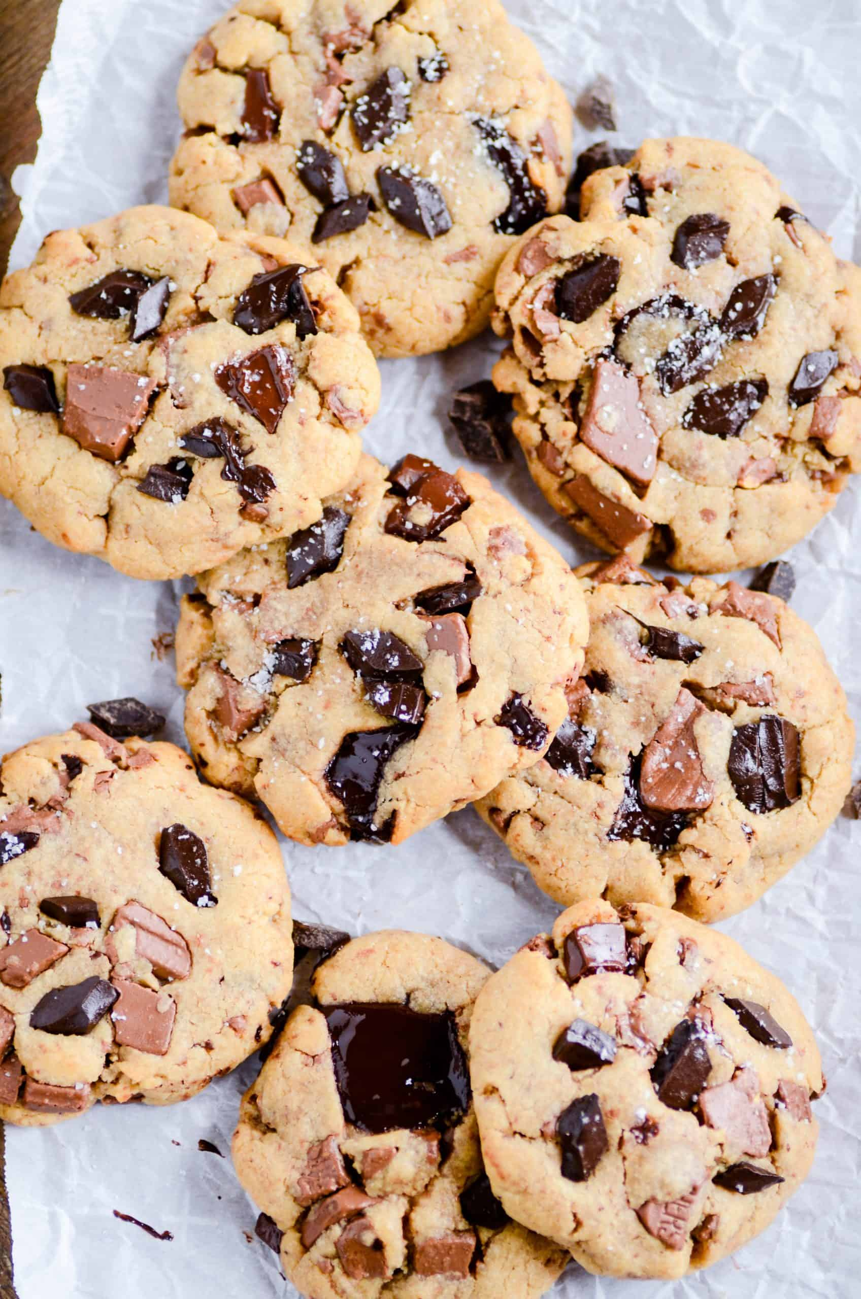 A recipe for unbelievably thick and chewy peanut butter cookies that calls for a POUND of milk and semi-sweet chocolate chunks!
