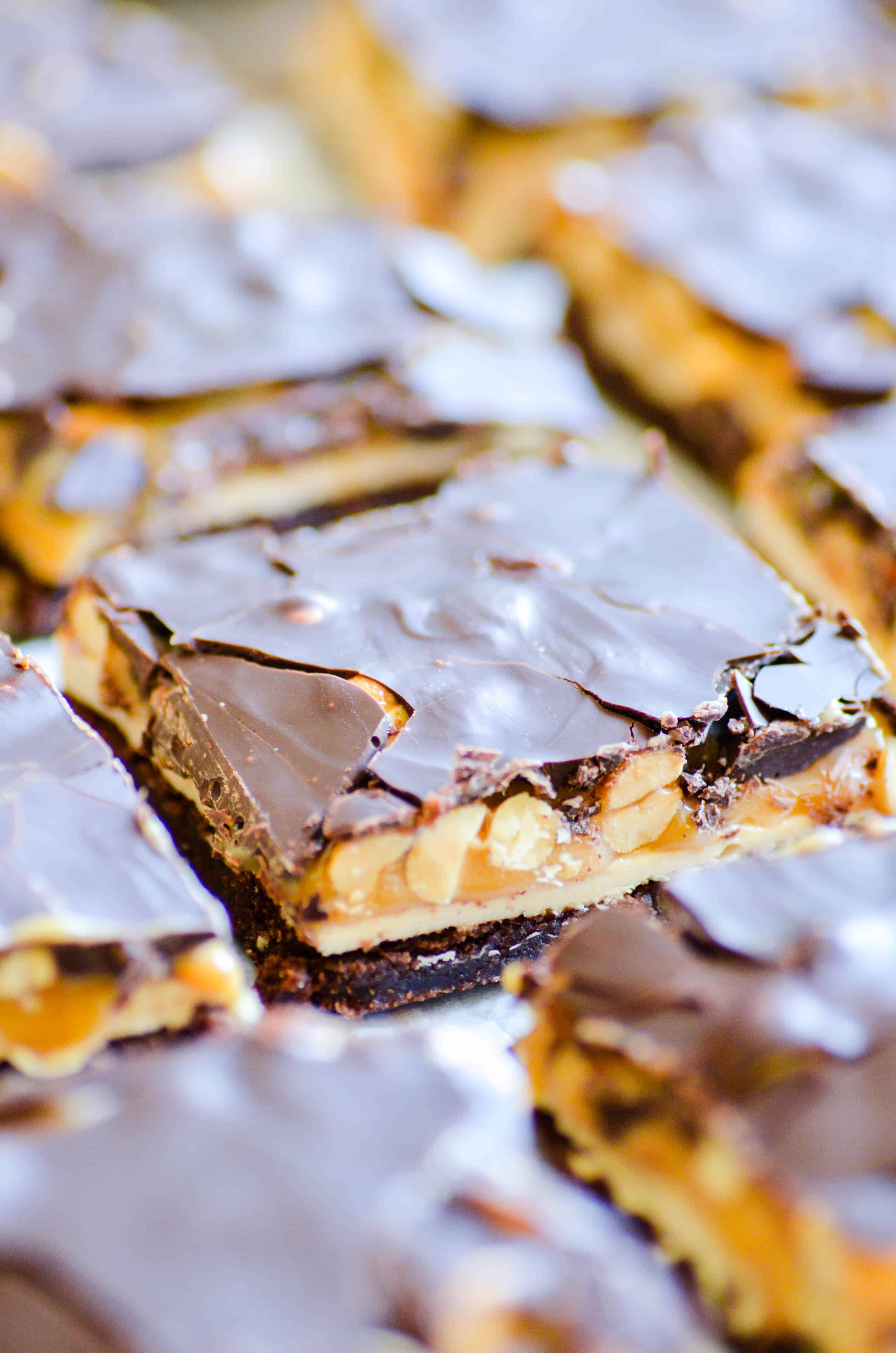 Rich and fudgy brownies masquerading as Snickers Bars.