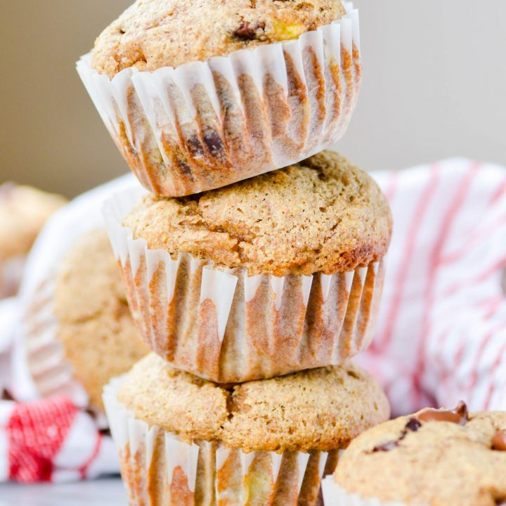 Supremely moist banana muffins with a hearty whole wheat texture and flavor. These muffins are great for nutritious on-the-go snacks or for an easy breakfast!