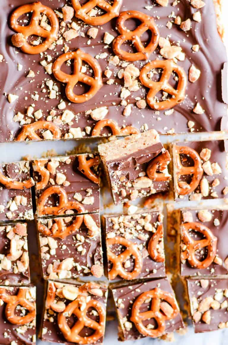 Peanut Butter and Chocolate Pretzel Bars