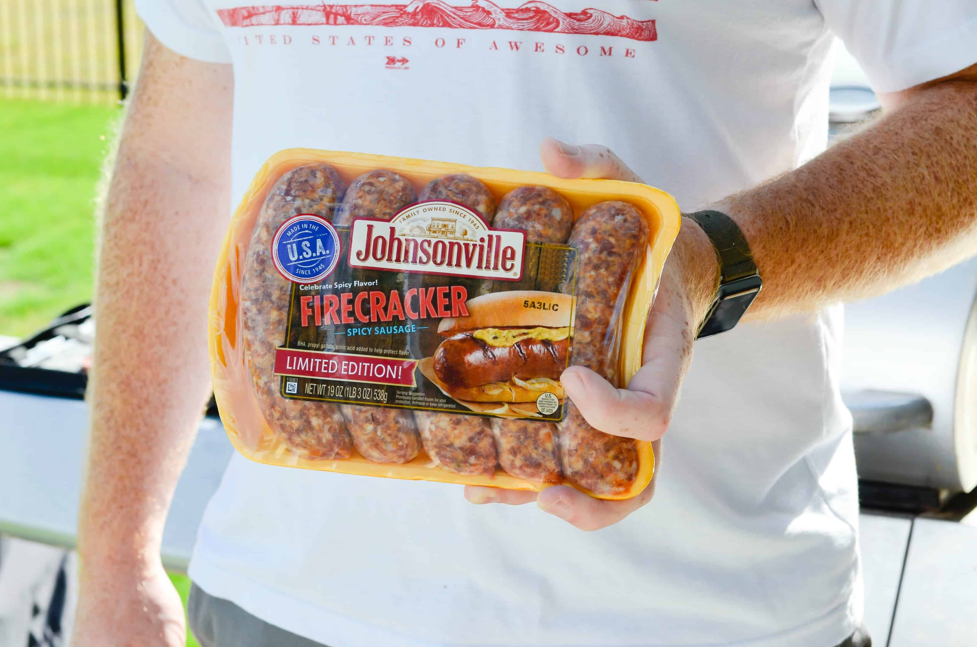 For the 4th of July we'll be grilling Johnsonville Firecracker Brats, jumping in the pool, and playing cornhole!