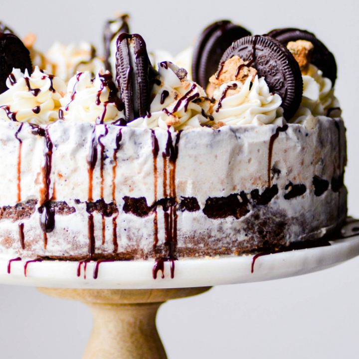 This Milk & Cookies Ice Cream Cake is made with a layer of my favorite chocolate cake on the bottom, chocolate chip cookie ice cream, edible chocolate chip cookie dough, cookies & cream ice cream, vanilla buttercream, and a drizzle of chocolate syrup to top it off!