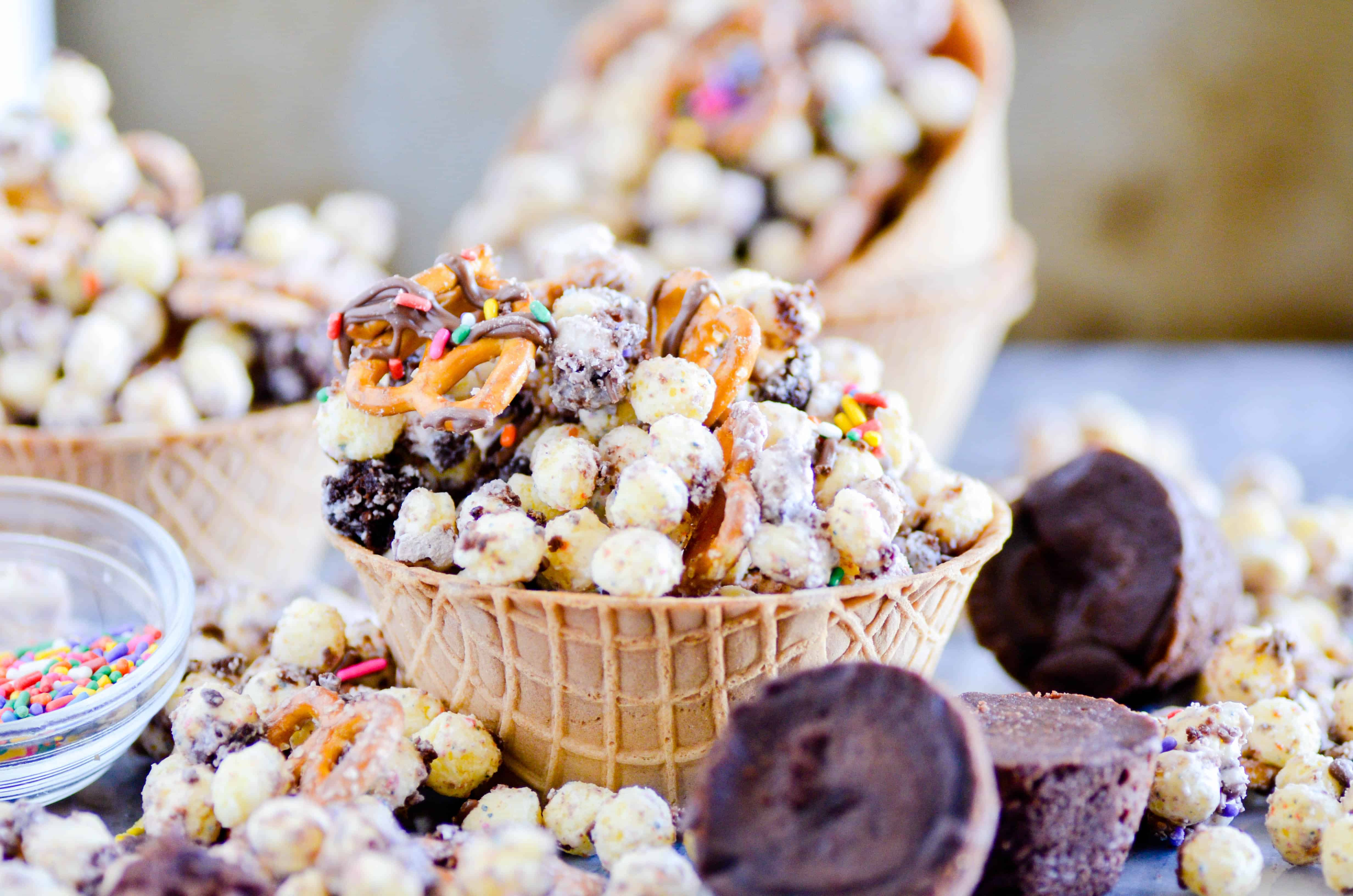 Birthday Cake Remix Snack Mix With Brownies And White Chocolate