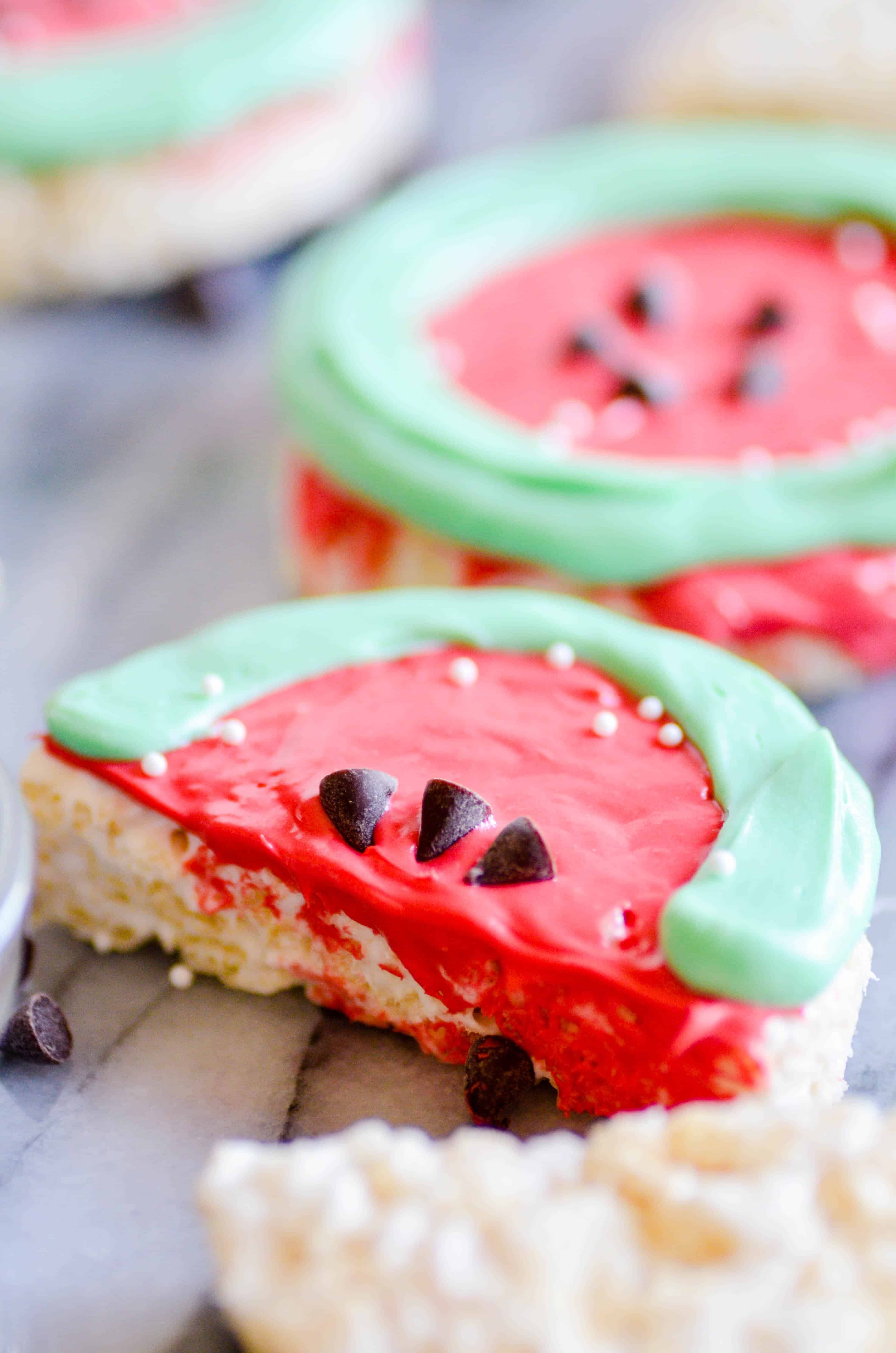 Rice Krispie Treats are extra fun when they look like slices of watermelon!