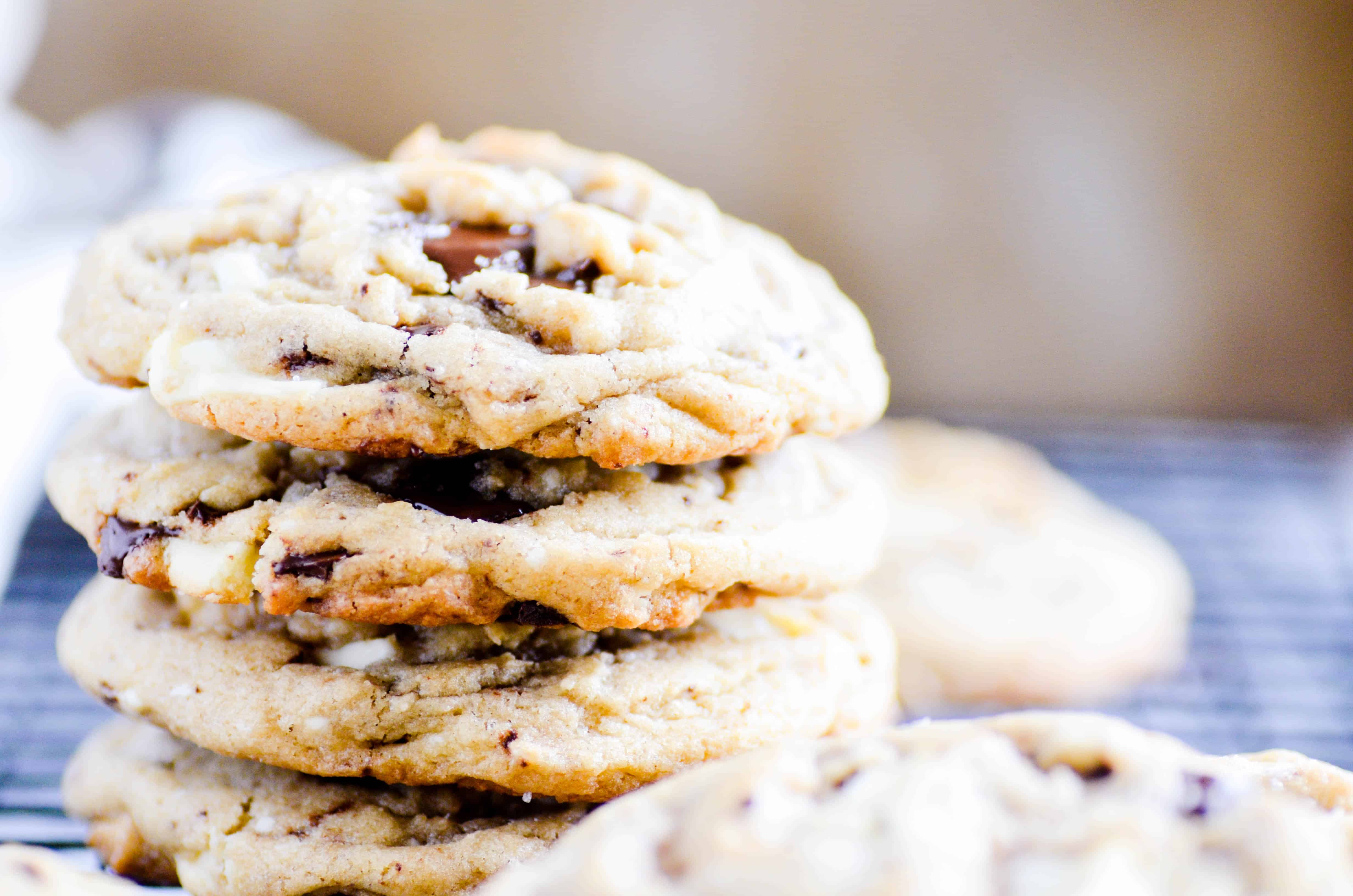 I took my Thick and Chewy Brown Sugar Chocolate Chip Cookies and made them slightly less thick with a double dose of chocolate (and white chocolate) chunks!