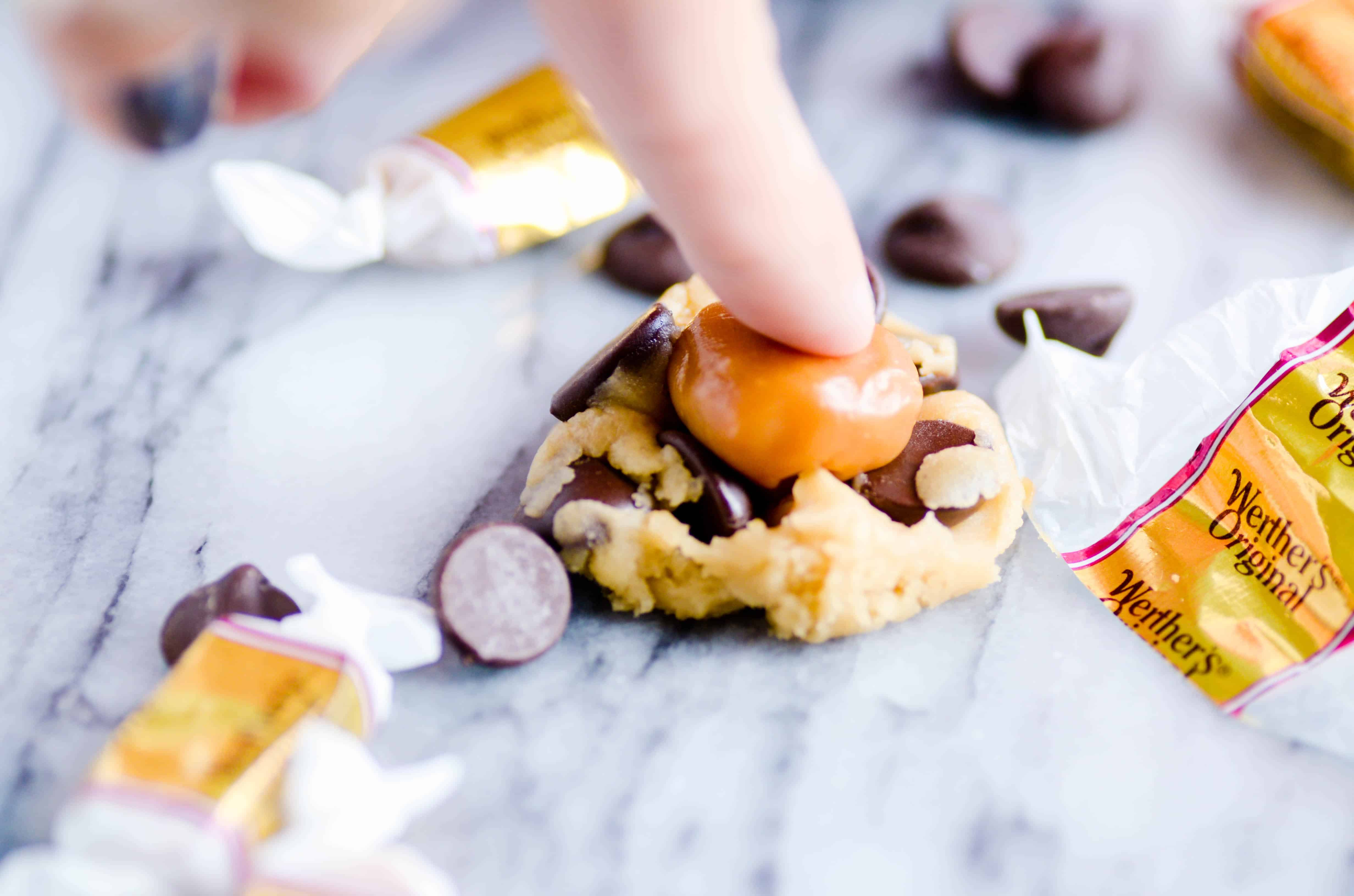 Perfect chocolate chip cookies with gooey, soft caramel centers.