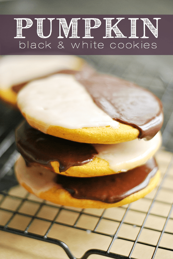 Pumpkin Black and White Cookies
