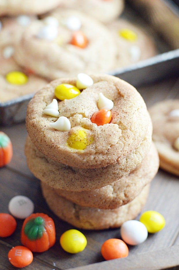 White Chocolate M&M Snickerdoodle Cookies
