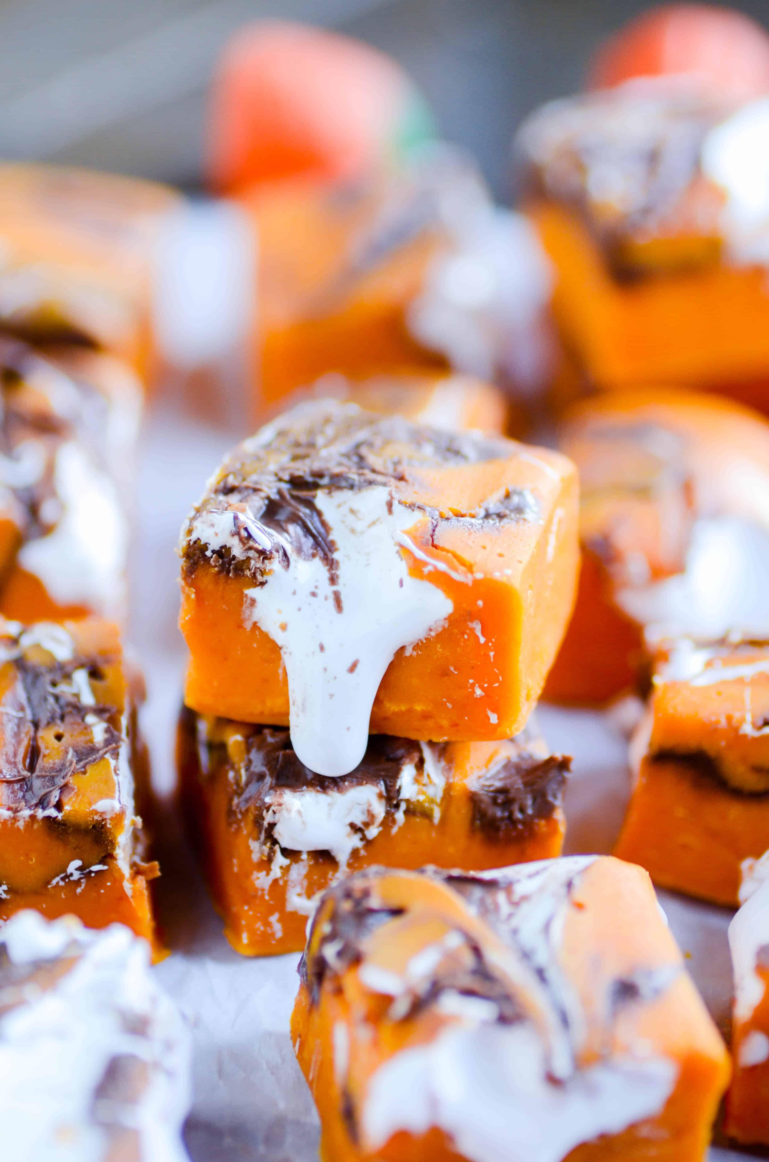 Pumpkin Nutella Marshmallow Fudge