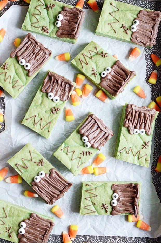 Cute & Easy Frankenstein Cookie Bars