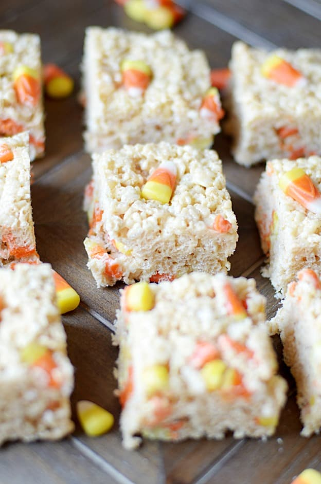 Biscoff Candy Corn Rice Krispie Treats