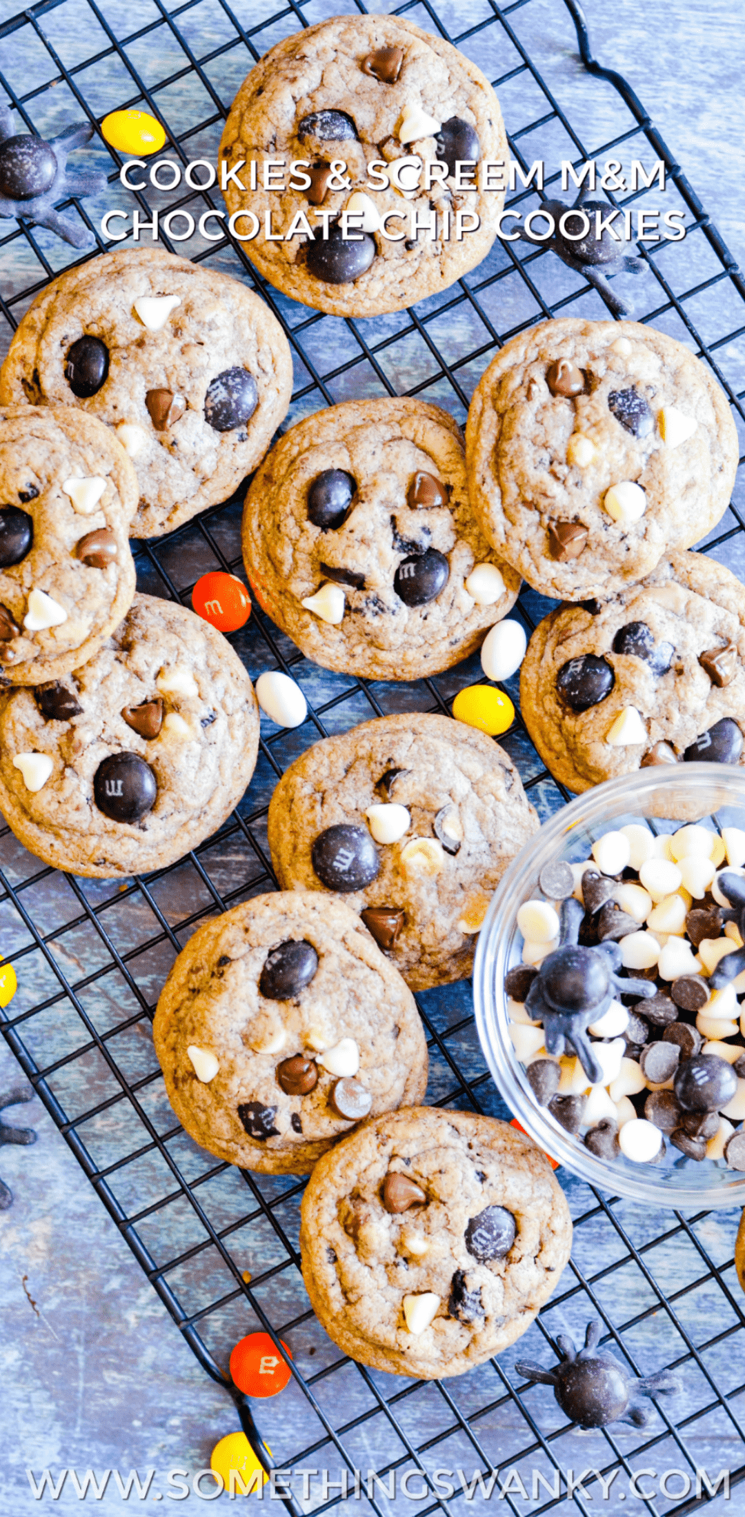 cookies & cream chocolate chip cookies with m&ms