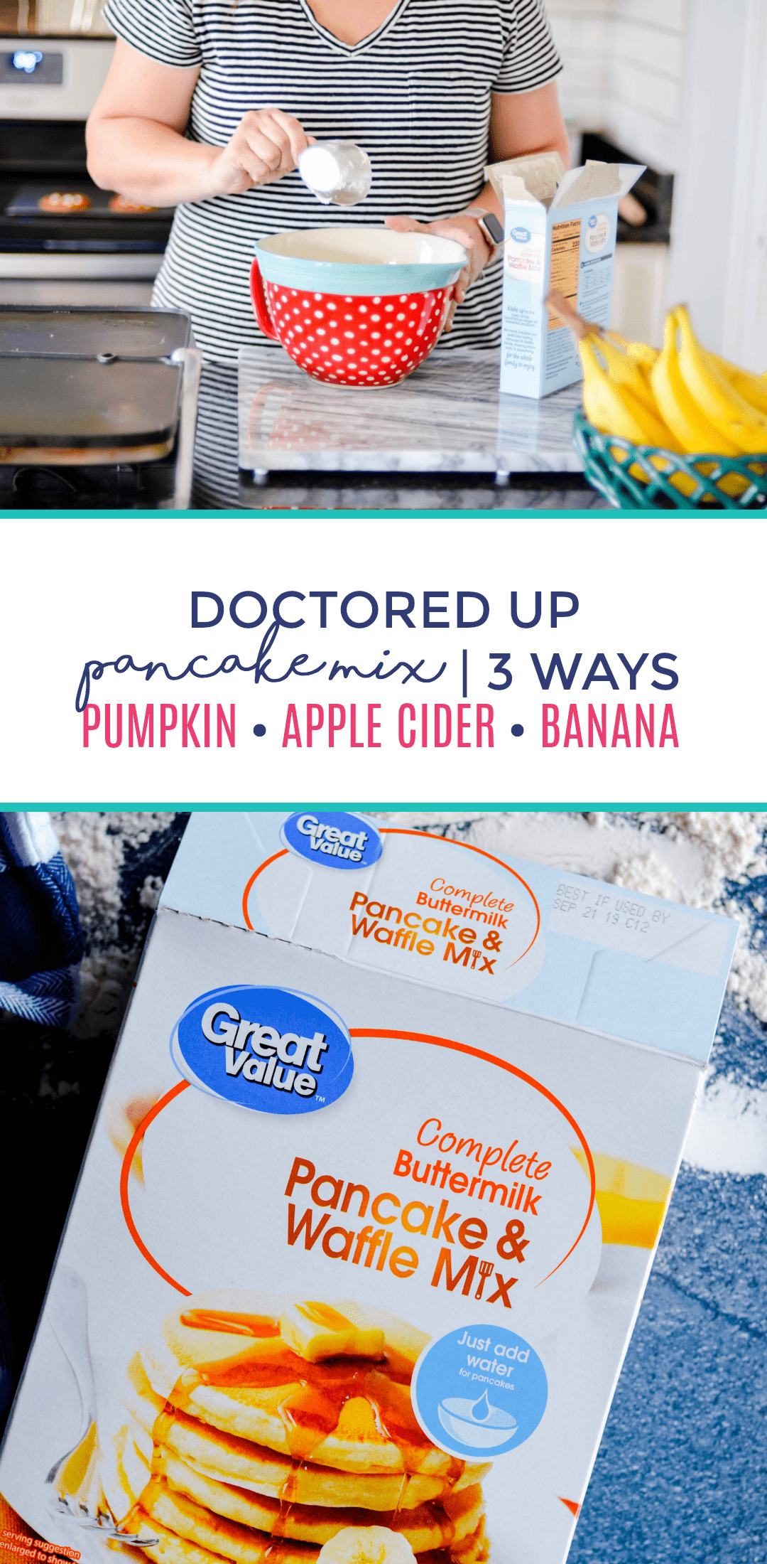 Learn how to make the BEST Doctored Up Pancake Mix 3 Ways! I'm sharing quick and easy ways to make pumpkin chocolate chip pancakes, apple cider pancakes, and banana pancakes that all start with a mix.