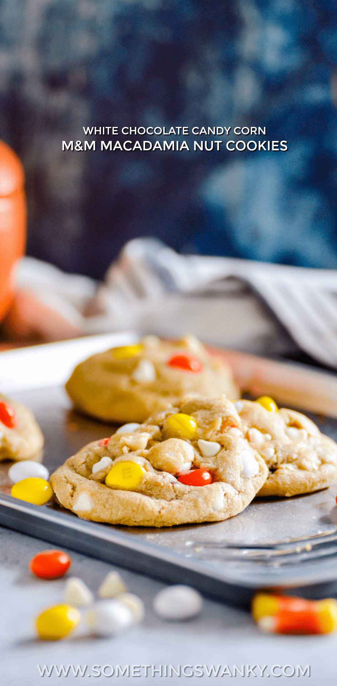 If you like white chocolate macadamia nut cookies, you'll fall in LOVE with these Candy Corn M&M Macadamia Nut Cookies.
