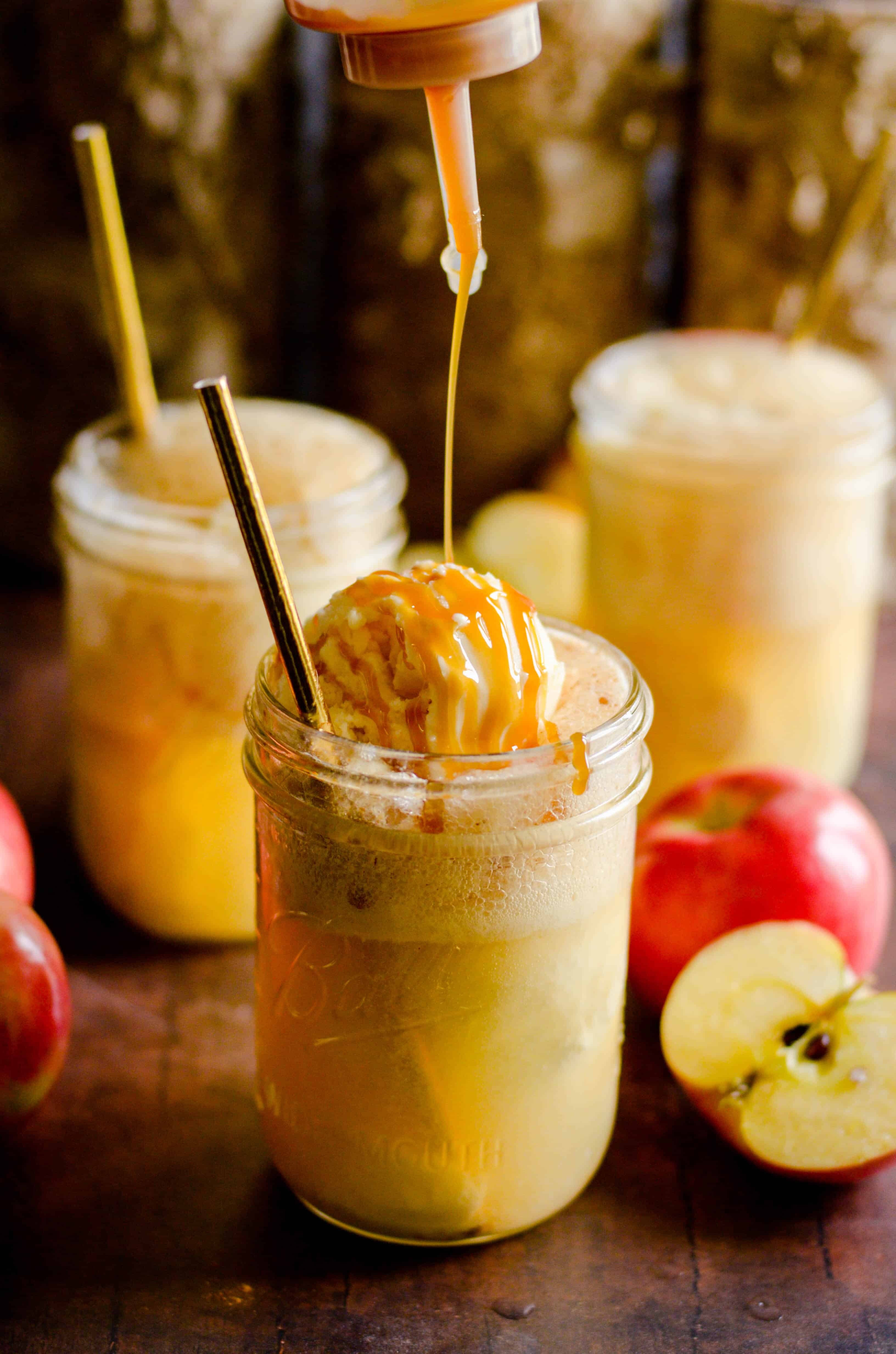 These sparkling Caramel Apple Cider Floats are the perfect treat for the transition from Summer to Fall. Easy to make for the whole family, you'll love sipping these on those not-quite-chilly-yet Fall days!