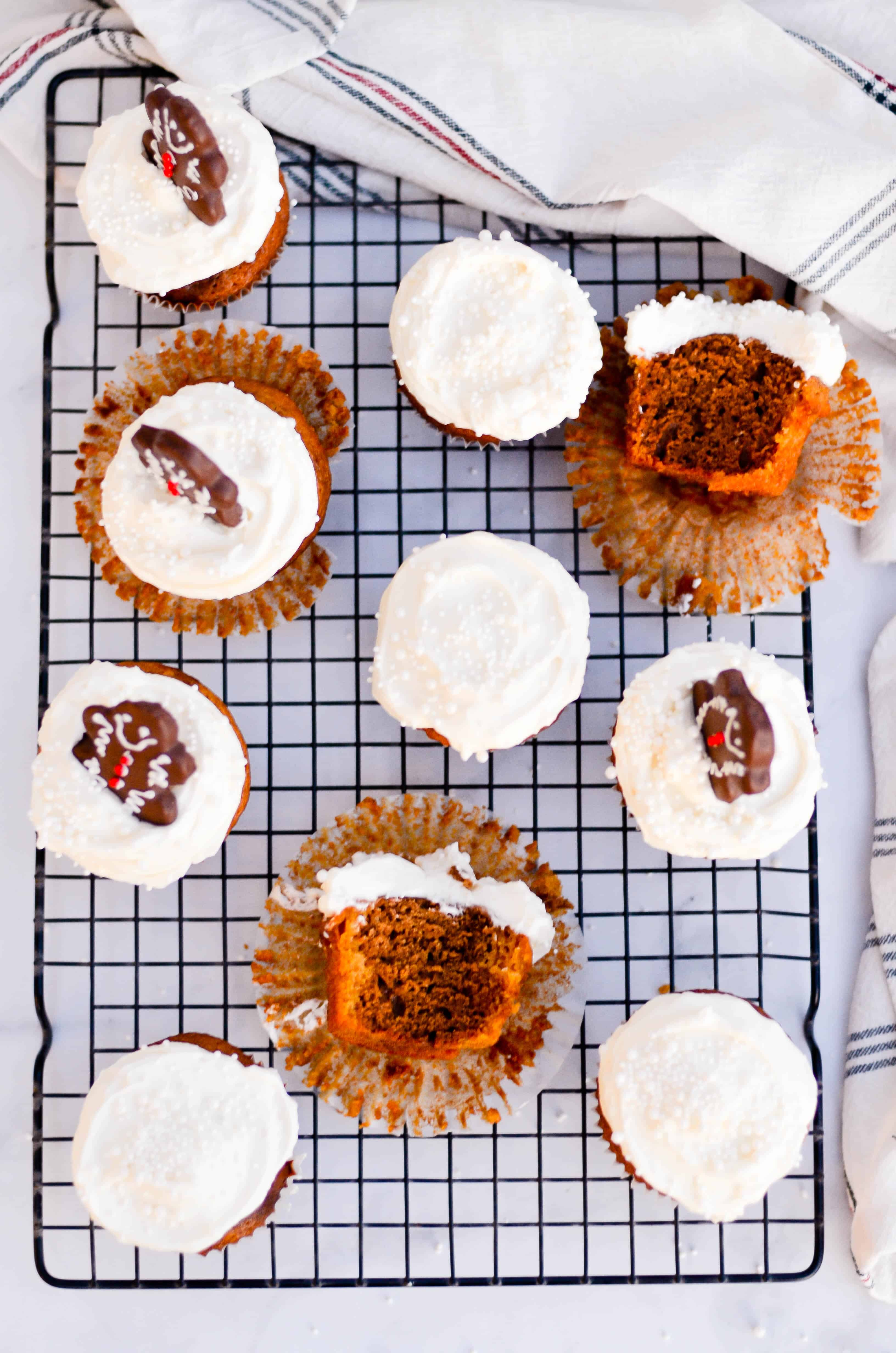 Swirled layers of soft pumpkin and gingerbread cakes are topped with a dreamy whipped cream frosting.