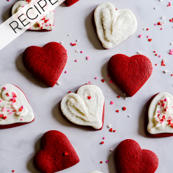 These Red Velvet Cut Out Sugar Cookies are so cute for Valentine's day. And easier than they look! It starts with a cake mix and ends with vibrant, red sugar cookies that hold their shape and are perfect for frosting ❤️.