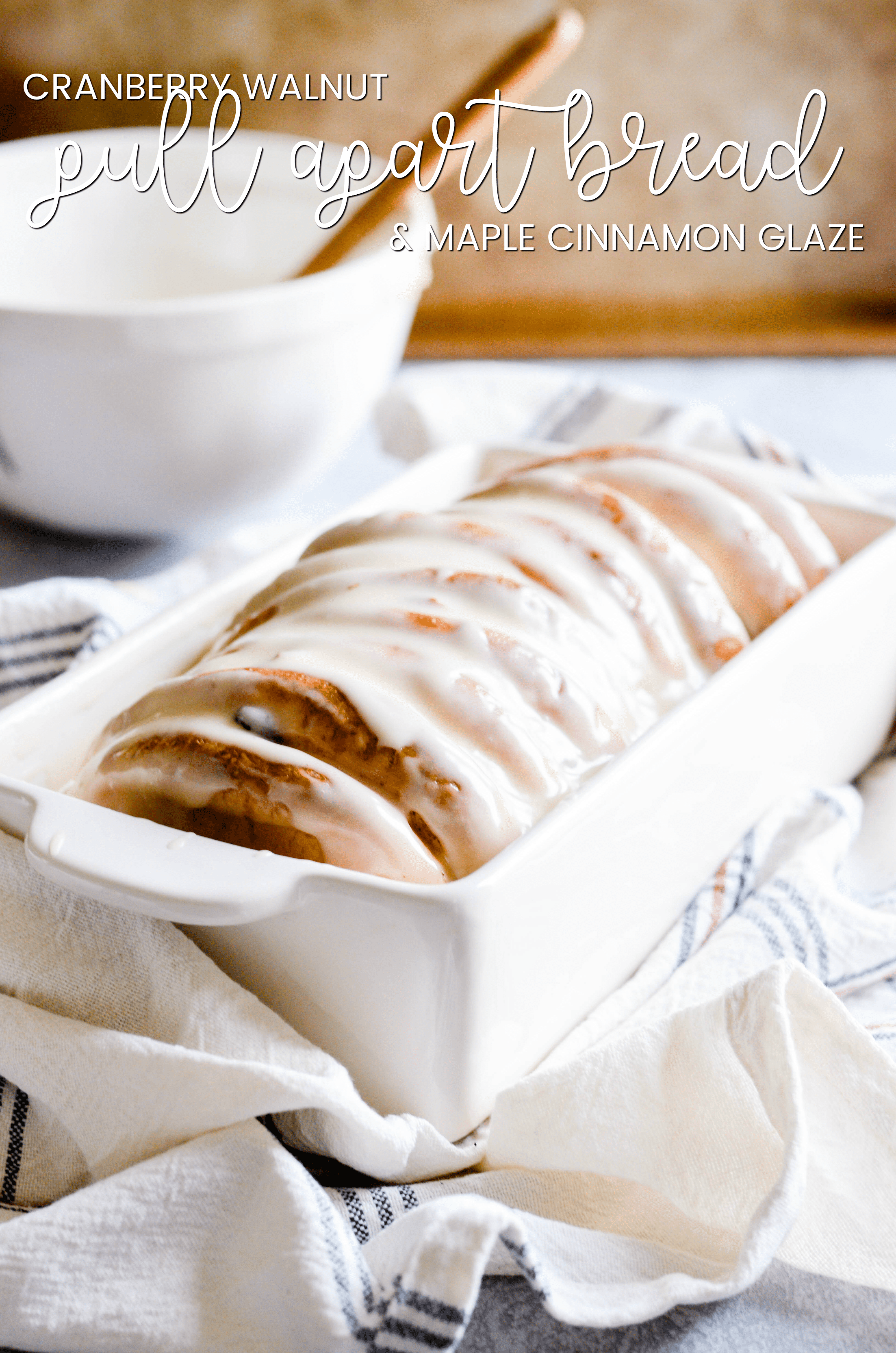 Cranberry Walnut Pull Apart Bread with Maple Glaze
