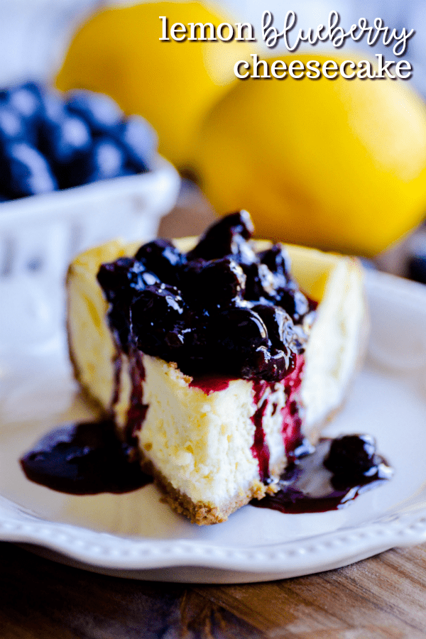 Smooth and creamy lemon cheesecake topped with a lemon blueberry sauce. The ultimate spring and summertime cheesecake!