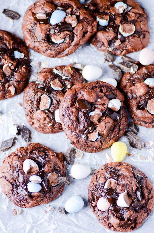 Fudgy Brownie Easter Egg Cookies