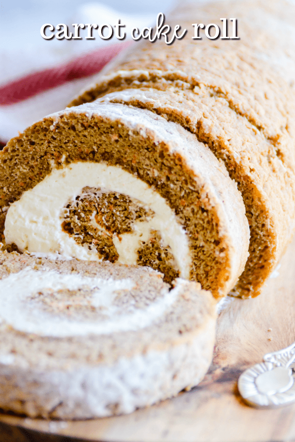 This soft carrot cake roll is soaked in caramel sauce and swirled with a fluffy whipped cream cheese frosting. A total showstopper for your Easter table this year!
