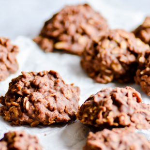 A recipe for classic chocolate peanut butter no bake cookies that won't spread when you scoop!