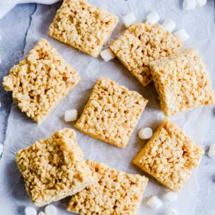 Classic rice krispie treats with an easy peanut butter twist!