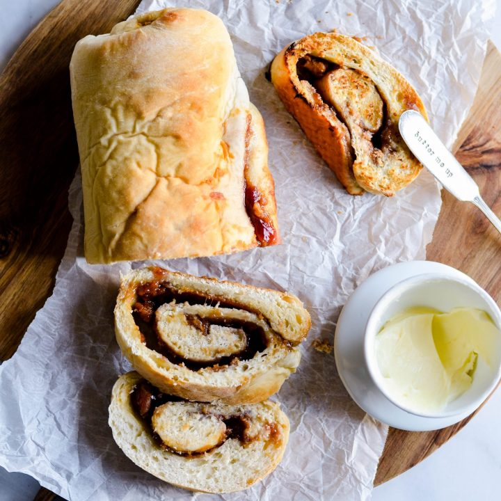 Gear up for Back-to-School with this all-in-one PB&J Swirl Bread! Pack it for a fun lunch or toast it in the morning for breakfast on-the-go.