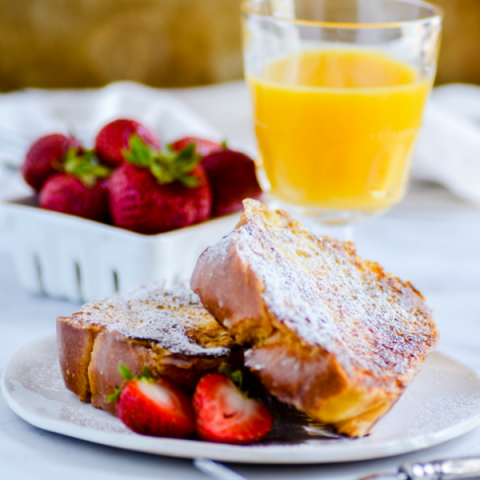 This is the best french toast recipe ever! Soft and fluffy on the inside, golden brown on the outside, and made with a maple and vanilla custard.