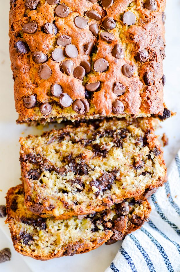 My mom's chocolate chip banana bread is full of chocolate chips and is SUPER soft and moist thanks to 4 whole bananas and a little bit of oil. It's the best!