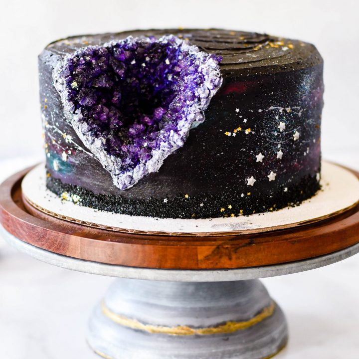 Black Frosting Recipe Galaxy Geode Birthday Cake Something Swanky