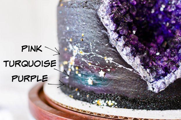Black Frosting Recipe + Galaxy Geode Birthday Cake