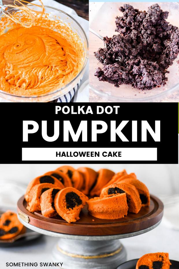 Polka Dot Pumpkin Halloween Cake