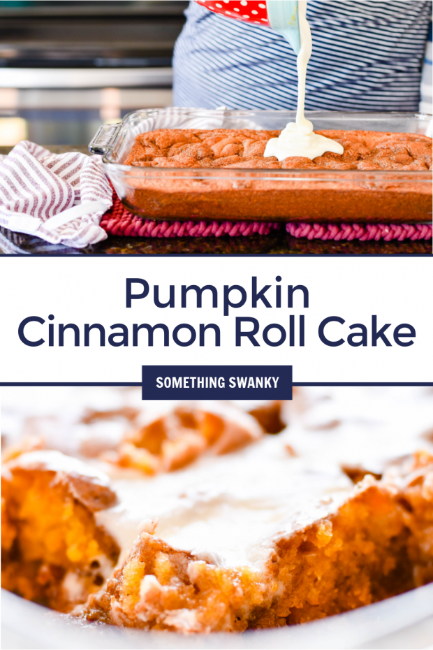 Pumpkin Cinnamon Roll Cake is a Fall twist on one of my all time favorite recipes-- this Cinnamon Roll Cake. The most classic flavors of Fall in one delicious and totally achievable AMAZING cake.