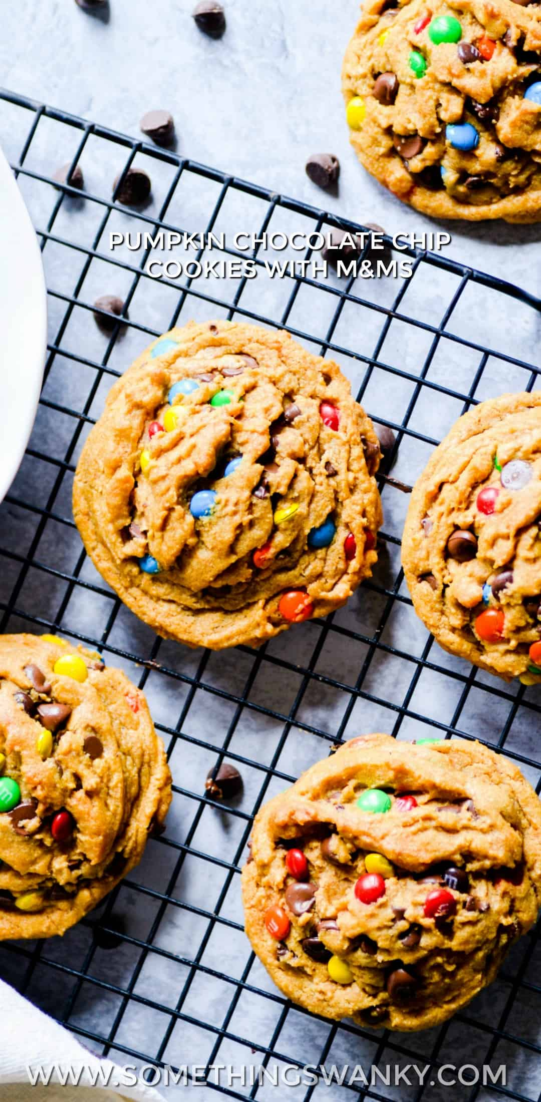 Pumpkin Chocolate Chip Cookies with M&MS