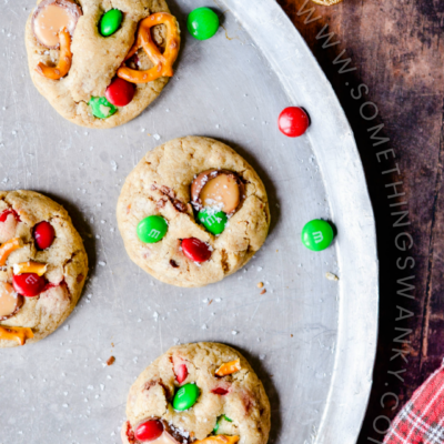 The ultimate sweet & salty cookie! Thick and chewy chocolate chip cookies stuffed with Caramel M&Ms and pretzels.